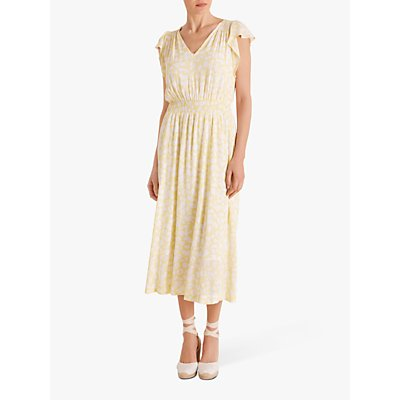 Fenn Wright Manson Daisy Print Midi Dress, White/Lemon