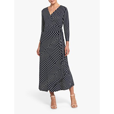 Helen McAlinden Alison Geometric Print Wrap Dress, Navy