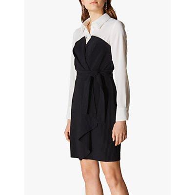 Karen Millen Layered Wrap Dress, Black/White