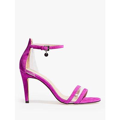 Karen Millen Double Strap Stiletto Heel Sandals, Magenta Suede