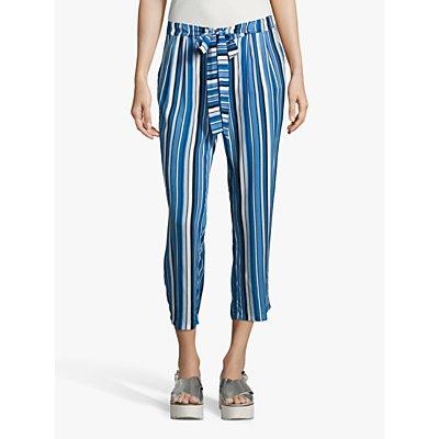 Betty Barclay Cropped Stripe Trousers, Dark Blue/Blue