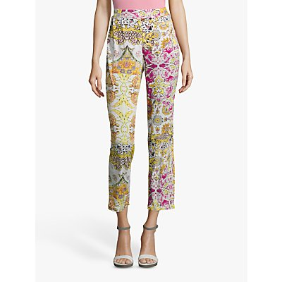 Betty Barclay Paint Dot Print Jersey Pants, Cream/Pink