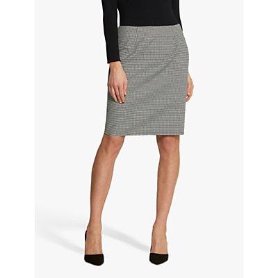 Helen McAlinden Vickie Gingham Pencil Skirt, Black/White