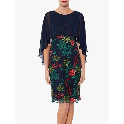 Gina Bacconi Natalya Chiffon Cape Dress, Spring Navy