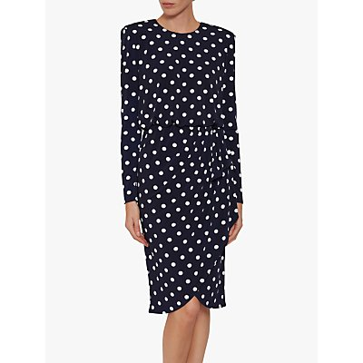 Gina Bacconi Rae Spot Dress, Navy/Ivory
