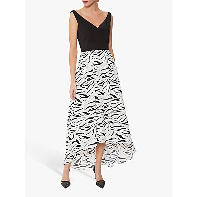 Gina Bacconi Narine Zebra Print Dress, White/Black