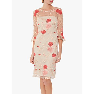 Gina Bacconi Annie Embroidered Dress, Pink/Red