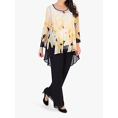 chesca Semi-Sheer Floral Print Chiffon Jacket, Black/Yellow/Ivory