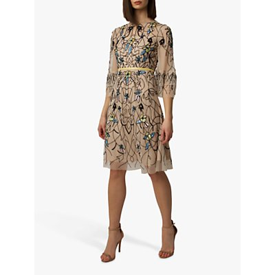 Raishma Floral Dress, Nude