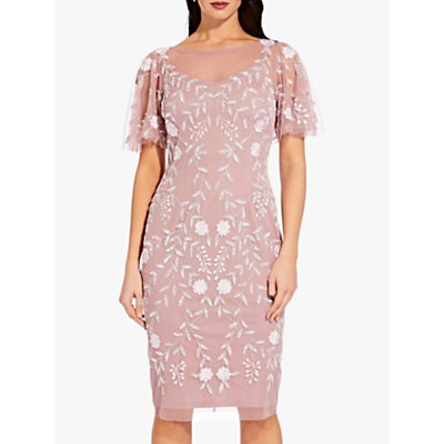 Adrianna Papell Plus Beaded Short Dress, Dusted Petal/Ivory