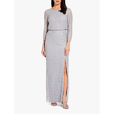 Adrianna Papell Beaded Blouson Dress, Blue Heather