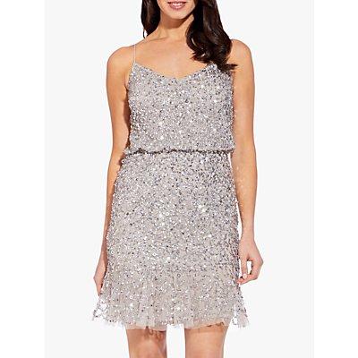 Adrianna Papell Blouson Sequin Short Dress, Silver