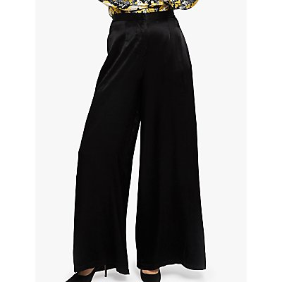 Ghost Jilly Satin Wide Leg Trousers, Black