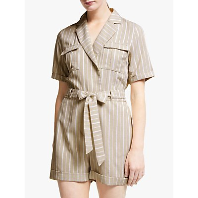 Y.A.S Sienna Collared Shirt Playsuit, Neutral