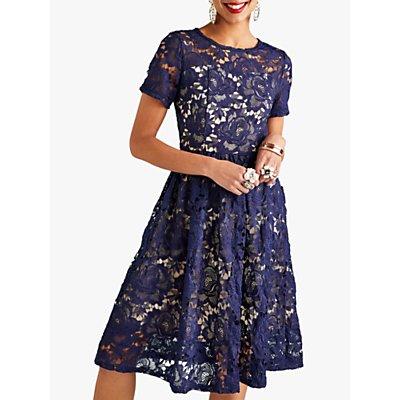 Yumi Lace Overlay Party Dress, Navy