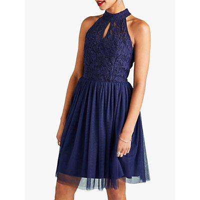 Yumi Lace Halter Neck Party Dress, Navy