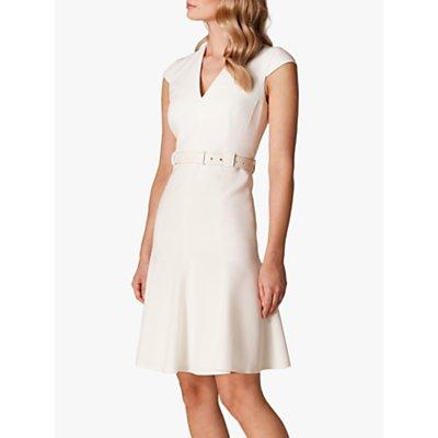 Karen Millen Pleat Hem Tailored Dress, Ivory