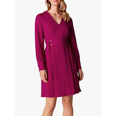 Karen Millen Soft Pleated Midi Dress, Magenta