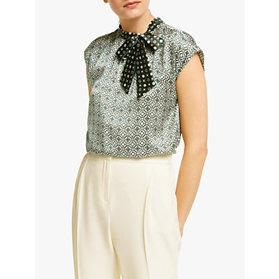 Marella Chela Tie Neck Silk Blouse, Green/Multi