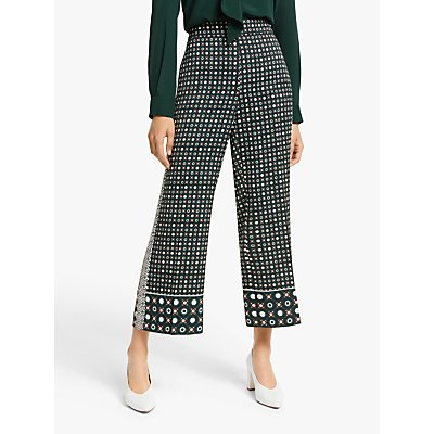 Marella Valika Abstract Print Wide Leg Cropped Trousers, Green/Multi