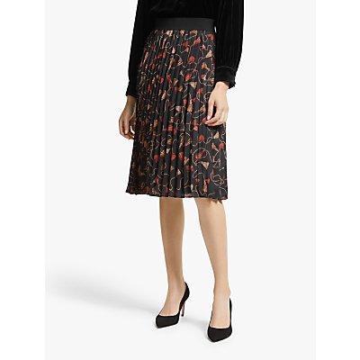 Marella Nuevo Pleated Skirt, Black/Multi
