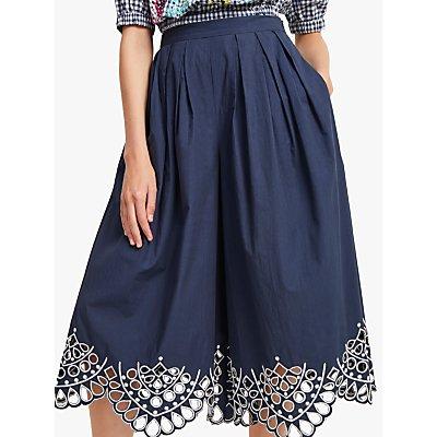 French Connection Briza Culotte Cotton Trousers, Indigo/White