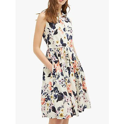 French Connection Acaena Sleeveless Floral Dress, Cream/Multi