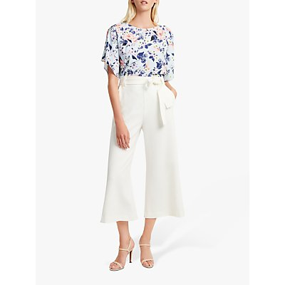 French Connection Whisper Ruth Wide Leg Culottes, Summer White