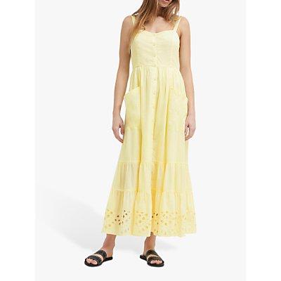 French Connection Ancole Broderie Cotton Dress, Super Lemon
