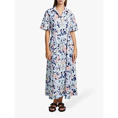 French Connection Cerisier Crepe Midi Shirt Dress, Light Dream Blue Multi