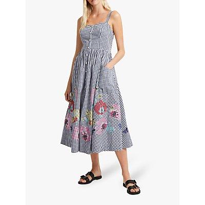 French Connection Lavande Gingham Midi Dress, Indigo/Summer White