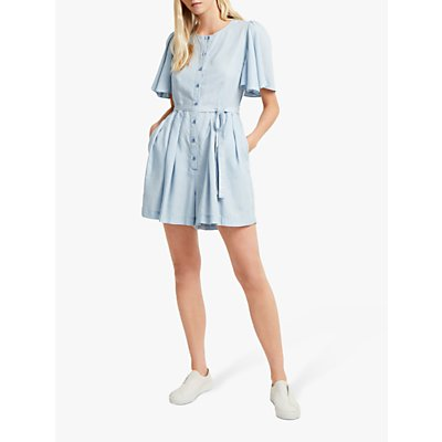 French Connection Julienne Playsuit, Sky Blue