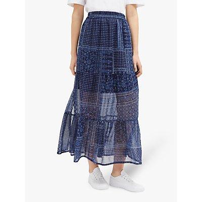 French Connection Anthemis Folk Skirt, Indigo Multi