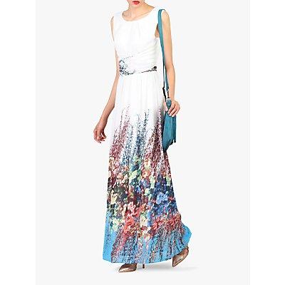 Jolie Moi Printed Chiffon Maxi Dress, White/Multi