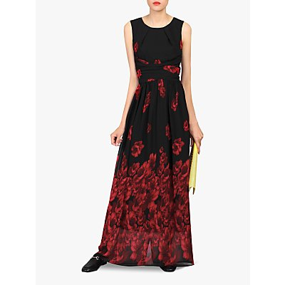 Jolie Moi Floral Chiffon Maxi Dress, Black/Red