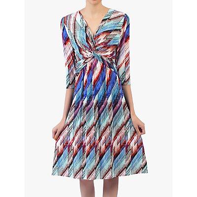 Jolie Moi Twist Front Print Dress, Blue/Multi