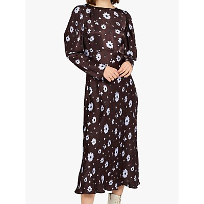 Ghost Rosaleen Flared Satin Floral Dress, Brown Daisy