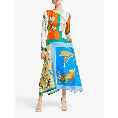 Weekend MaxMara Abile Silk Midi Dress, Orange/Blue