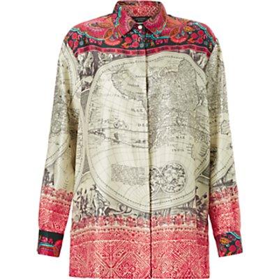 Weekend MaxMara Cadice Silk Printed Blouse, Ivory/Multi