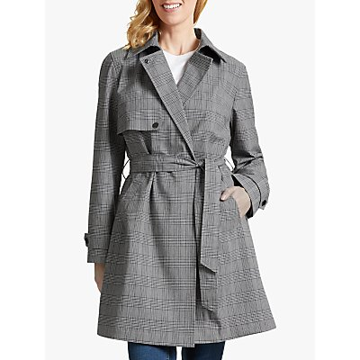 Four Seasons Check Trench Coat, Grey