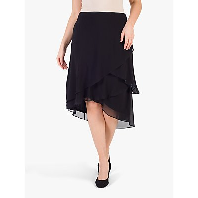 chesca Layered Chiffon Skirt, Black