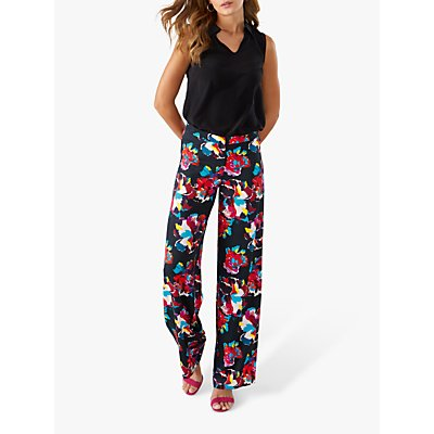 Pure Collection Wide Leg Abstract Floral Print Trousers, Black