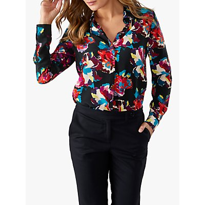 Pure Collection Washed Silk Floral Print Blouse, Black Summer Floral
