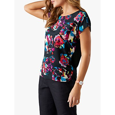 Pure Collection Floral Silk Front Top, Black Summer Floral