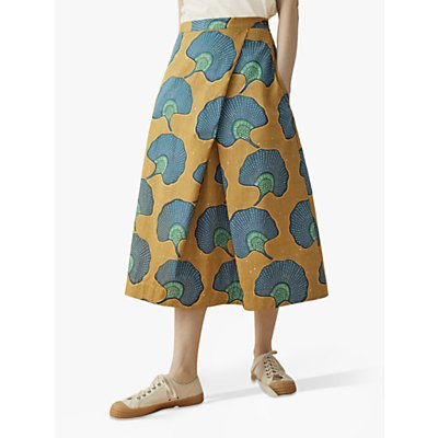 Toast Ginko Print Cotton Skirt, Ochre