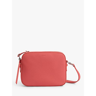 AllSaints Captain Lea Square Leather Cross Body Bag, Coral Pink