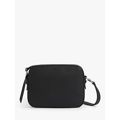 AllSaints Captain Lea Squared Leather Cross Body Bag, Black