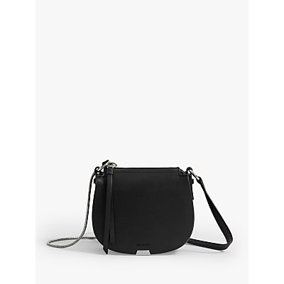 AllSaints Captain Mini Round Leather Cross Body Bag, Black