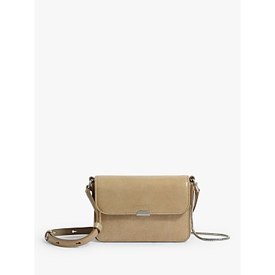 AllSaints Glitz Mini Flap Leather Crossbody Bag, Glittering Gold