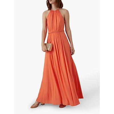 Karen Millen Halterneck Maxi Dress, Coral